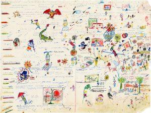 Jacques Prévert Planche scénaristique dessinée des Enfants du paradis, Éditions des Saints-Pères